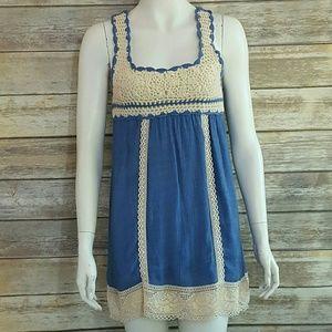 INA gauzy mini dress with crocheted accents sz. S
